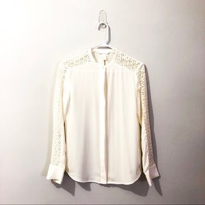Cream colored, lace detail button-down blouse